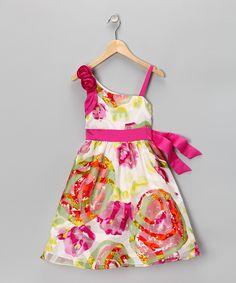 Rare Editions Fuchsia Floral Dress - Girls
