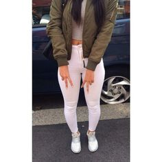 pants white white jeans high waisted jeans tumblr outfit tumblr tumblr clothes jacket army green jacket