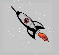 """Giant Retro Rocketship Wall art decal Rocket Decal size 15"""" by 48""""("""