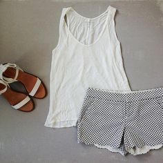 Scalloped shorts / white tank / sandals / add a light cardigan and you're good to go