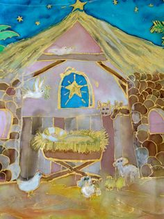 Handpainted Silk Nativity Scene First Christmas  by thesilkmaid, $30.00