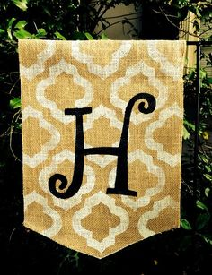 Burlap garden flag white trellis and curlz by ModernRusticGirl, $20.00