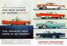 1957 Chrysler Corporation Cars Chrysler 300c, Chrysler Cars, Retro Cars, Vintage Cars, Antique Cars, Chrysler Imperial, Car Illustration, Car Advertising, Mopar