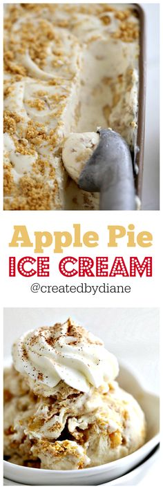 this easy no churn ice cream is full of great flavor. Fresh apples and graham cracker crumbs combined with heavy cream and sweetened condensed milk. Apple Pie Ice Cream, Ice Cream Pies, Homemade Ice Cream, Ice Cream Deserts, Ice Cream Recipes, No Churn Ice Cream, Healthy Ice Cream, Ice Cream Photos, Nice Cream