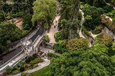 Patamar dos deuses, que é composto por 9 estátuas de deuses greco-romanos, A mitologia clássica foi uma das inspirações de Carvalho Monteiro para os jardins da Regaleira.