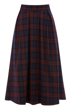 The midi skirt has always been an essential for girls who want to hang on to bare legs as the cold sets in, but this one has shot right to the top of our lust list with its totally autumn appropriate deep red check print. Were wearing ours with a snugly cream jumper, a leather jacket and ankle boots. So cute! Features a silver zip back fastening.