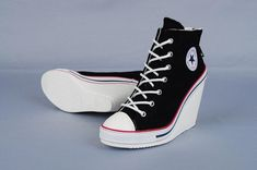 10aa823a1d0178 Maxstar 777 Back Zipper Wedge Heel Shoes Black  Promheels Converse Wedges