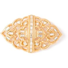 Yves Saint Laurent Vintage Glam Crystal Brooch ($377) ❤ liked on Polyvore featuring jewelry, brooches, metallic, gold tone jewelry, crystal jewellery, vintage jewelry, vintage brooch and pin brooch