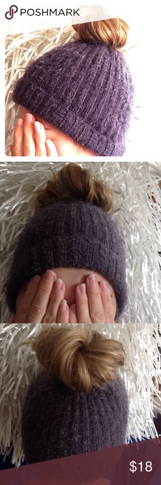 Messy bun beanie ponytail hat cap toboggan gray Messy bun beanie. Custom made. With elastic at top to hold your messy bun  or ponytail in place better. And longer. Gray very soft feeling. You can roll it up or down. Accessories Hats