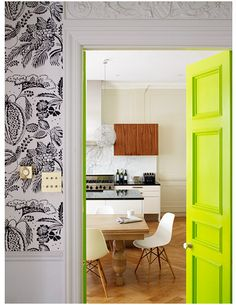 Unexpected interior door color: neon yellow (my craft room door re-paint idea) Interior Door Colors, Painted Interior Doors, Painted Doors, Wooden Doors, Decoration Inspiration, Interior Inspiration, Interior Ideas, Color Inspiration, Modern Interior