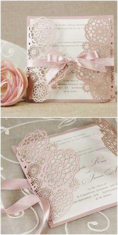 romantische pink Einladungskarten zur Hochzeit mit Schleife und Laser ...