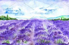 Watercolor lavender fields landscape by Art By Silmairel on @creativemarket