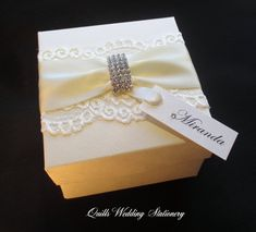 Elegant Diamante Buckle. Decorated Gift by QuillsWeddingFavours