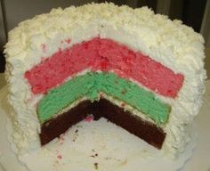 Italian spumoni cake for National Spumoni Day