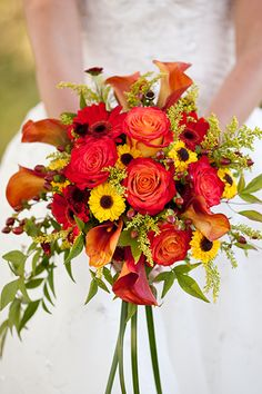 Fall flowers are some of our favorite to design! Ask us for our ideas and watch our creativity at work--or browse these 50 beautiful bouquets that are perfect for fall weddings.