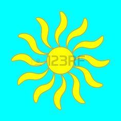 sunshine: Sign of sun. Yellow plane icon isolated on blue background. Colorfull sunlight logo. Sunshine symbol. Light flat silhouette. Weather mark. Stock vector illustration Illustration