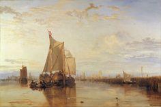 Zicht op Dordrecht vanaf Zwijndrecht met vrachtboot op Rotterdam, William Turner