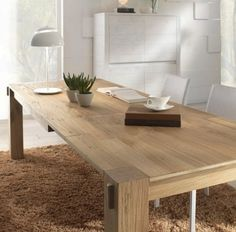 La table bois massif - le must have dans tous les domiciles! Inexpensive Furniture, Unique Furniture, Cheap Furniture, Discount Furniture, Furniture Design, Scandi Dining Table, Dining Room Table, Hallway Inspiration, Solid Wood Table