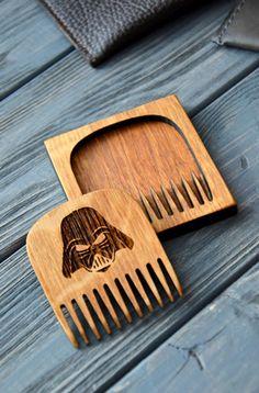 Darth Weider Wooden beard mustache comb Star Wars gift idea for Men Him Husband…