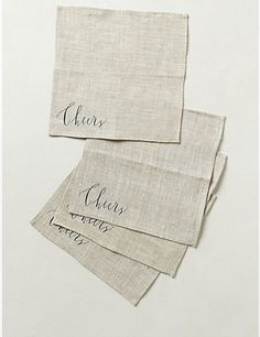Lovely linen Cheers! napkins for holiday entertaining.
