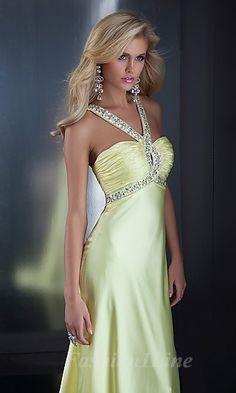 A-Line Elastic woven satin Halter Floor Dress fashion02262