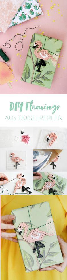 DIY Idee zum Geschenke kreativ verpacken: DIY Flamingo aus Hama Bügelperlen selbermachen | mit DIY Anleitung | DIY Bügelperlen | DIY Blog