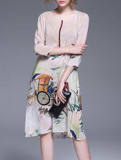 Shop Midi Dresses - Apricot Vintage A-line Silk Crew Neck Midi Dress online…