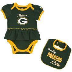 Green Bay Packers Infant Girls Skirted Onesie & Bib Set