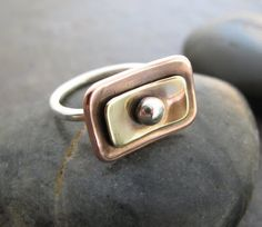Copper, brass and sterling ring