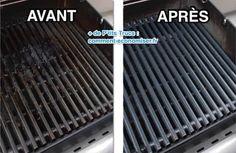 Grille de barbecue très sale à gauche et propre à droite
