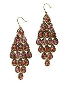 <3. Women's Gold Set Stone Chandelier Earrings - Lucky Brand Jeans