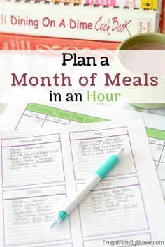 How to meal plan for a whole month in just an hour. Meal planning can really help you stay on a budget and feed your family well for less. This 6 step plan can help you get a month's worth of meals planned in just about an hour.