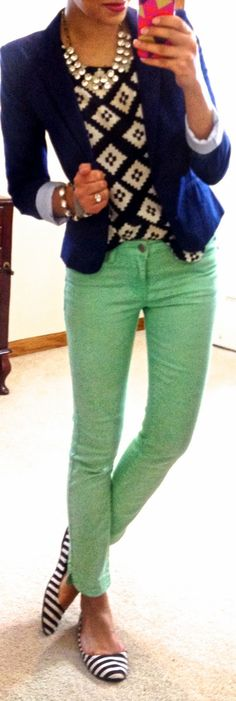 mint green & navy.