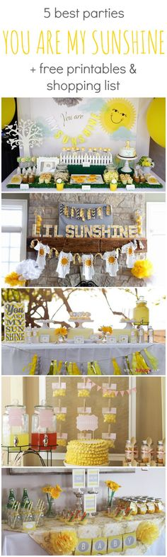 Baby Shower Themes Pin to remember this is the best baby shower, baby sprinkle OR birthday party theme // Best You Are My Sunshine Parties + Free Printables and Shopping List Baby Shower Themes Deco Baby Shower, Shower Bebe, Shower Party, Baby Shower Parties, Baby Boy Shower, Baby Shower Gifts, Baby Shower Yellow, Shower Favors, Shower Games