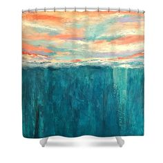 Cloudscape Shower Curtain featuring the painting Breaking Sky No. 2 by Mary Mirabal