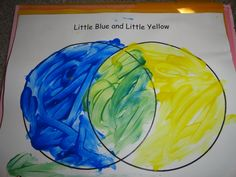 Little Blue and Little Yellow learning to mix colours and how they create a different colour