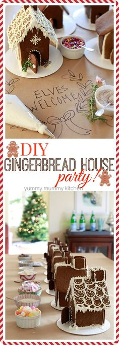 Make-your-own gingerbread house party! We love making Gingerbread houses with our friends. Decorating gingerbread houses is a fun tradition for kids and adults alike. Find out how to make a gingerbread house.