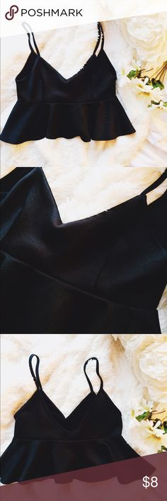 Cropped Peplum Top Worn once. Satin material. Love Culture Tops Crop Tops