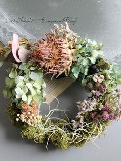 アーテーチョークのリース- ドライフラワーリース/ウェルカムボード/ ウェルカムリース| Dried Flower Arrangement ''Peony''…