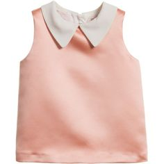 Hucklebones London Girls Peach Pink Satin Blouse (€66) ❤ liked on Polyvore featuring kids