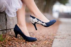 Blue Wedding Shoes Navy Bridal Shoes Low Wedding by walkinonair