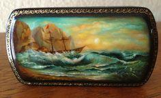 Russian lacquer box, sailing ship