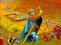 Germanic warriors attacking a Roman army camp