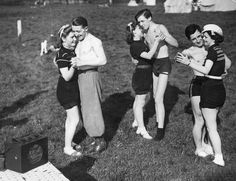 Campers dancing to music from a wireless, 1939. by juffrouwjo, via Flickr