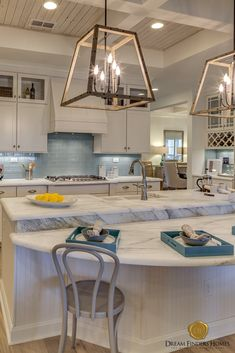 Obsessing over the put into this custom kitchen. We are in love with these inspired light fixtures! Kitchen Ideas, Kitchen Decor, Kitchen Design, New Home Construction, Custom Kitchens, Interior Decorating, Interior Design, Home Trends, New Home Designs