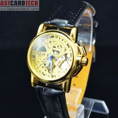 Fashional Automatic Male Golden Watch J234- Male Golden Stainless Steel Skeleton Auto Mechanical Watches Leather Wristwatch.