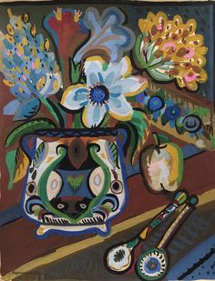 Blue flowers and apple by Taisa Voronetskya  Copyright remains with the artist.  #taisavoronetskya #francisilesgallery