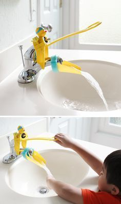 Duckie Faucet Extender For Little Hands // SO cUte! I really like how this has a handle for kids to turn the faucet on & off Baby Life Hacks, Baby Gadgets, Kids Gadgets, Geek Gadgets, Camping Gadgets, Electronics Gadgets, Technology Gadgets, Baby Necessities, Bathroom Kids