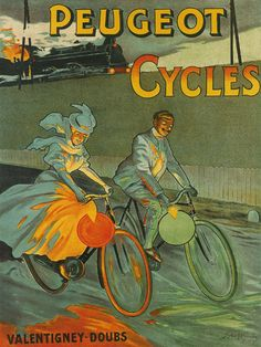 Train Bike Peugeot Cycles  French Large Vintage Poster Repro FREE
