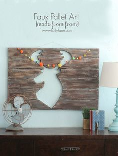 Foam pallet art, looks like wood without the heavy weight!! Full tutorial on www.lollyjane.com! #floracraft #palletart